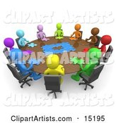 Group of Colorful and Diverse People Holding a Meeting and Trying to Solve a Jigsaw Around a Large Rectangular Conference Table in an Office
