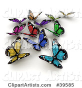 Group of Colorful Solar Panel Butterflies