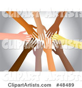 Group of Diverse Hands Reaching in Together
