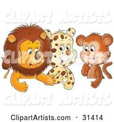 Group of Friends, a Cute Baby Lion, Leopard and Monkey, Chatting