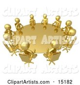 Group of Gold People Seated and Holding a Meeting at a Round Golden Conference Table