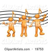 Group of Three Orange People with Music Note Heads, Listening to Headphones over a Music Staff