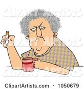 Grumpy Old Woman Smoking a Cigarette over Coffee