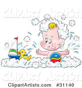 Happy Baby Splashing and Playing with a Toy Boat, Rubber Ducky and Ball in a Bubble Bath