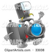 Happy Digital Camera with a Flash Attachment, Waving