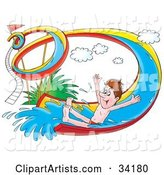 Happy Man Holding His Arms out and Riding down a Twisty Water Slide