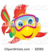 Happy Yellow Fish with Red Fish and Blue Eyes, Snorkeling