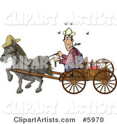 Horse Pulling a Farmer on a Wagon