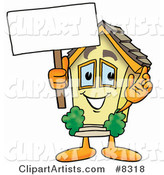 House Mascot Cartoon Character Holding a Blank Sign
