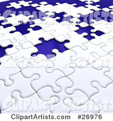 Incomplete White Jigsaw Puzzle with Scattered Blue Spaces of Missing Pieces