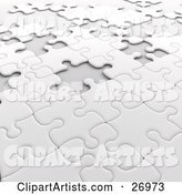 Incomplete White Jigsaw Puzzle with Scattered Spaces of Missing Pieces