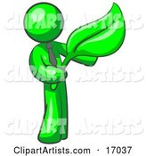 Lime Green Man Holding a Green Leaf, Symbolizing Gardening, Landscaping or Organic Products
