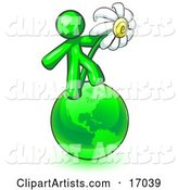 Lime Green Man Standing on the Green Planet Earth and Holding a White Daisy, Symbolizing Organics and Going Green for a Healthy Environment