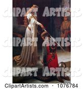 Long Haired Maiden Holding a Sword over a Man During a Knighting Ceremony, the Accolade by Edmund Blair Leighton