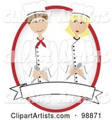Male and Female Chef Holding Utensils over a Blank Banner and Oval