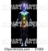 Male Body with All Seven Chakras Activated and Illuminated, Symbolizing Peace, Self, Health and Meditation