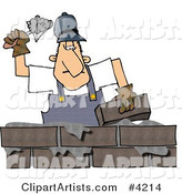 Male Builder Cementing a Brick Wall
