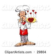 Male Chef Covering His Mouth and Presenting a Pizza with Pepperoni Slices Forming a Heart, Little Hearts Steaming from the Top