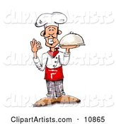 Male Chef in a Chefs Hat, Holding a Serving Platter