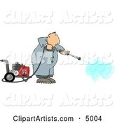 Man Cleaning with a Heavy Duty Gas Powered Pressure Washer
