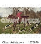 Man Fox Hunting on Horseback, Surrounded by Dogs