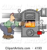 Man Opening the Door of a Hot Boiler with Valves