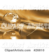 Metal Wire Frame Globe of Earth over a Golden Background with Waves and Gold Light