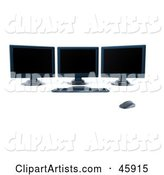 Modern Workstation with Three Black Computer Screens