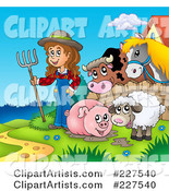 Muddy Pig, Sheep and Farmer by a Fence with a Cow and Horse