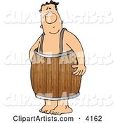 Naked Man Wearing a Wooden Barrel Around His Waist