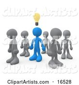 One Blue Person in a Group of Gray People, Thinking up a Creative Idea, with a Lightbulb over His Head