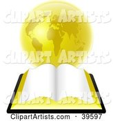 Open Bible with Blank Pages, Resting in Front of a Golden Globe