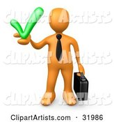 Orange Business Man Carrying a Briefcase and Holding a Green Check Mark, Symbolizing Solutions and Approval