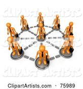 Orange Business Men with Briefcases, Standing in a Network Circle