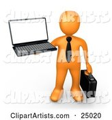 Orange Businessman with a Black Tie, Holding a Laptop and Carrying a Briefcase
