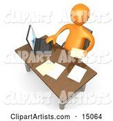 Orange Employee Seated at a Wooden Desk and Using a Laptop While Doing Paperwork at the Office