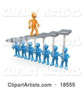 Orange Man Walking Upwards on Steps That Are Held by Blue Men Below, Symbolizing Support, Trust and Achievement