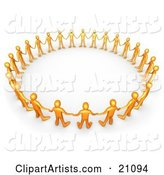 Orange People in a Group, Holding Hands and Standing in a Circle, Symbolizing Support and Teamwork