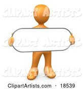 Orange Person Holding a Blank White Oval Sign