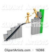 Orange Person Standing on a Silver and Green Bar Graph Chart, Reaching Back to Assist Another Person up to the Top