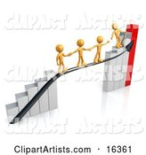 Orange Person Standing on a Silver and Red Bar Graph Chart, Reaching Back to Assist Others up to the Top
