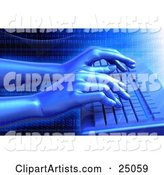 Pair of Virtual Hands Typing on a Blue Computer Keyboard, over a Grid Background with Binary Coding