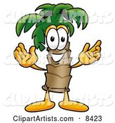 Palm Tree Mascot Cartoon Character with Welcoming Open Arms