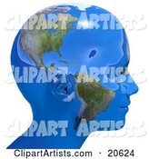 Person's Head in Profile, Covered in Blue Seas and Continents of Planet Earth