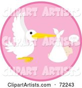 Pink Circle with a Stork and a Sleeping Baby Girl