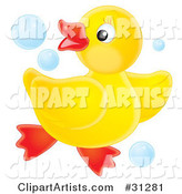 Playful Yellow Rubber Ducky Dancing in Blue Bubbles, on a White Background