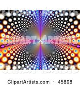Psychedelic Funky Background of Colorful Circles Leading and Reflecting into the Distance