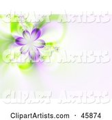 Purple Flower Fractal Background on Pale Pink