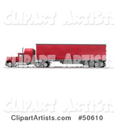 Red Big Rig Truck - Angle 2