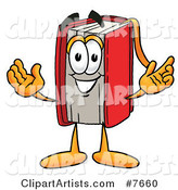 Red Book Mascot Cartoon Character with Welcoming Open Arms